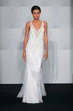 MARK ZUNINO V neck Sheath Gown in Silk Back Crepe