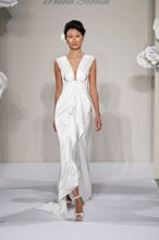 PNINA TORNAI V Neck Sheath Gown in Silk Charmeuse