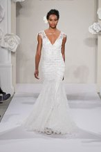 PNINA TORNAI V Neck Mermaid Gown in Silk Chiffon