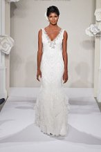 PNINA TORNAI V Neck Sheath Gown in Beaded Embroidery