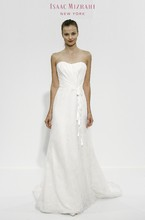 Strapless A-Line Gown in Organza Style Number:32635559 This a-line gown features a strapless neckline with a natural waist in organza. It has a chapel train. This gown is Exclusive to Kleinfeld Bridal.