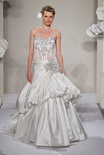 Sweetheart Ball Gown in Silk Taffeta This ball gown features a sweetheart neckline with a dropped waist in silk taffeta. It has a chapel train. This gown is Exclusive to Kleinfeld Bridal. Style Number:32637563
