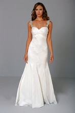 Sweetheart A-Line Gown in Satin This a-line gown features a sweetheart neckline with in satin and beaded embroidery. It has a chapel train and a tank top. This gown is Exclusive to Kleinfeld Bridal. Style Number:32679847