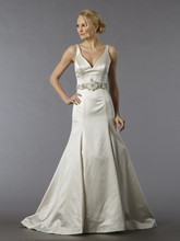 Danielle Caprese for Kleinfeld Style 113057  Off White, V-neck fit and flare with belt