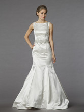 Danielle Caprese for Kleinfeld Style 113061  Off white, bateau neckline satin fit and flare