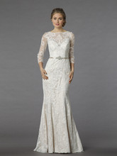 Danielle Caprese for Kleinfeld Style 113062  Off White, lace 3/4 length sleeve fit and flare