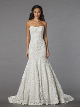Danielle Caprese for Kleinfeld Style 113064  <br /> Off White, strapless beaded fit and flare