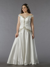 Dina Davos for Kleinfeld Style KW100  Off White, tip of the shoulder beaded A-line