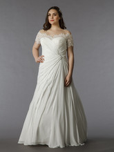 Dina Davos for Kleinfeld Style KW115  Off White, tip of the shoulder silk A-line