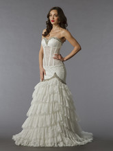 Pnina Tornai Style 86  <br /> Off White, sweetheart lace mermaid