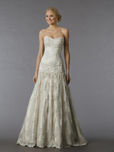 Pnina Tornai Style 4127  <br /> Off White, sweetheart tulle and beaded lace A-line