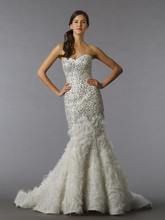 Pnina Tornai Style 4193  <br /> Off White, strapless beaded embroidered mermaid