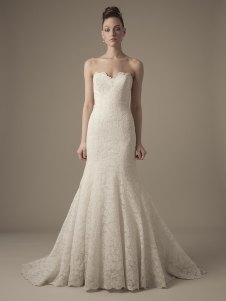 Sweetheart Mermaid Gown in Lace Style Number: 1174 This mermaid gown features a sweetheart neckline with in lace. It has a chapel train. This gown is Exclusive to Kleinfeld Bridal.