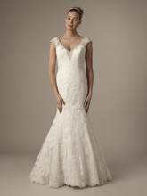 V-Neck Mermaid Gown in Alencon Lace Style Number: 12048 This mermaid gown features a v-neck neckline with in alencon lace and beaded embroidery. It has a chapel train and cap sleeves. This gown is Exclusive to Kleinfeld Bridal.