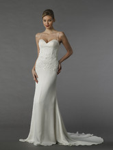 Style 12072  This sheath gown features a sweetheart neckline with a natural waist in silk. It has a chapel train and spaghetti straps.