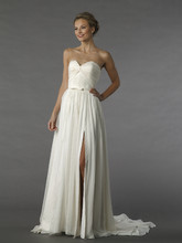 Style 12074  This a-line gown features a sweetheart neckline with a natural waist in chiffon. It has a chapel train.