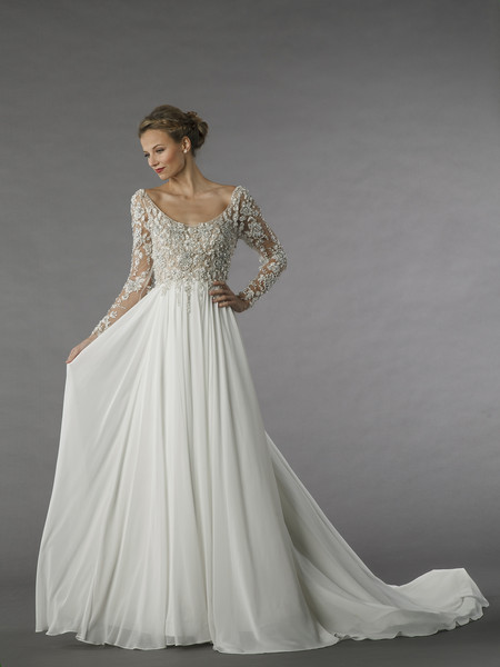 Vintage Wedding Dresses Kleinfelds : Style this a line gown features scoop neckline with natural