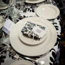 Damask wedding, black and white wedding, guest gifts, table setting, decor