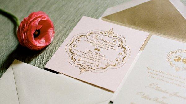 Vintage Gold Green Pink Garden Invitations Wedding Invitations