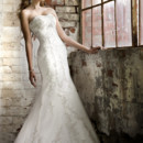 D1278 This designer lace and Dolce Satin trumpet wedding gown features an empire waist embellished with intricate lace and Diamante beading. Sweetheart bodice comes in lace up or zipper back closure. Chapel train.