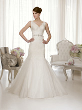 D1478 This lavish corded lace over Royal Organza trumpet designer wedding dress features a scalloped lace V-neck with lace straps that lead to a beautiful lace back with crystal buttons, and a detachable Diamante embellished belt.