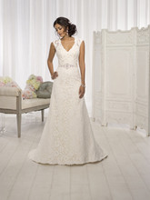 """D1598 For the bride looking for elegant wedding dresses, this gorgeous Lace over Dolce Satin A Line cap sleeve wedding dress from the Essense of Australia collection proves to be the perfect choice. It features a figure-flattering V neckline, a delicate Lace illusion back and a 1.5"""" Grosgrain ribbon waist sash with Diamante detailing. Elegant wedding dresses with Diamante details at the waist sash and interesting back designs provide just that special touch of vintage romance. Add to it that all Essense of Australia dresses are fit tested and constructed with the optimal level of support, and you've got a fashion-forward dress with an exceptional fit, which is key to looking your best on your big day."""
