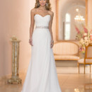 5908 This Chiffon sheath bridal gown from the Stella York wedding dress collection was imagined and handcrafted with stunning detail. You'll love how the hand-beaded Diamante embellished belt accentuates your waist, while the criss-cross ruching on the bodice and the sweetheart neckline frames your face. The light-as-air Chiffon skirt falls elegantly to the floor and then fully fans into a gorgeous court train while the back features a corset closure. Choose from Chiffon in off-white or white; additional options include belt colors in ivory, white, oyster, or pewter.
