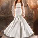 380 Classically elegant ruched fit-and-flare designer bridal gown has an asymmetrical dropped waist and circular styled skirt. Lace up or zipper back available. Lace waist satin sash sold separately. Veil sold separately.