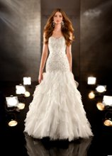 332 Silk Organza fit-and-flare designer bridal gown has a Swarovski crystal and diamante adorned bodice and frothy organza skirt. Lace up or zipper back available.