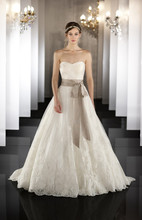 437 Silk Organza wedding ball gown features a detachable lace jacket with keyhole back and a scalloped lace hem. Lace up or zip up under covered buttons. Grosgrain ribbon included.