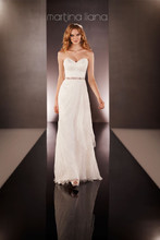 Style 608  Lace over Parisian Silk Chiffon modified A-line wedding dress from the Martina Liana wedding gown collection has a strapless sweetheart bodice, whimsical Lace layering on the skirt, and a Lace sweep train. Detachable beaded 1