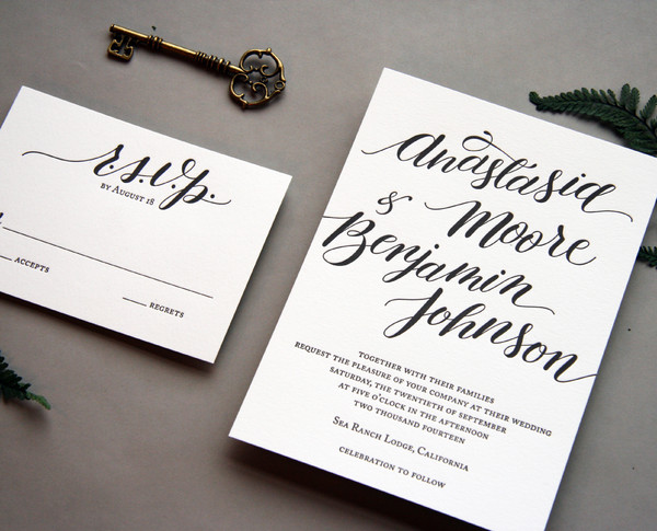 steel petal press chicago il wedding invitation