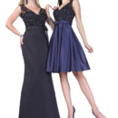 Right Style 20153  <br /> Satin lace gown with sleeveless, V-neckline lace bodice and keyhole back, satin pleated A-line skirt with bow tie detail at waist. Left Style 20155  <br /> Satin lace gown with lace V-neckline lace bodice with tiny cap sleeves and floor length skirt with sweep train.