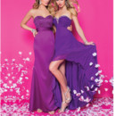 Left: 20195 Right: 20199 Satin strapless fit and flare floor length gown, sweetheart neckline, bodice has appliqués with flowers and swirls, pleated band at waist.  Chiffon strapless hi-lo gown, beaded sweetheart neckline with ruched bust.