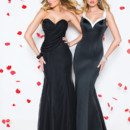 Left: 20200 Right: 20197 Chiffon strapless fit and flare floor length gown, sweetheart neckline, asymmetrical ruched bodice that drapes around the back.  Satin fit and flare 2-tone floor length gown, V neckline with a deep V back.