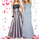 Left: 20202 Right: 20204 Taffeta and lace A-Line floor length gown, straight neckline, lace on bodice, ruched cummerbund at waist, pleats on skirt.  Chiffon fit and flare floor length gown, cowl neckline, spaghetti straps, beaded band at waist.