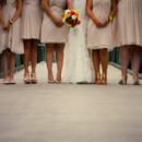 Bride and Bridesmaids, shoe detail, bridge background