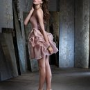 Style NZ3225  <br /> Camel organza short pickup dress, strapless sweetheart neckline, tie sash at natural waist, tousled pick up skirt.