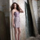 Style NZ3226  <br /> Taupe organza and alencon lace dress, strapless sweetheart neckline, pleated bodice with self band at natural waist, alencon lace pencil skirt with side pockets.