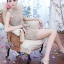 NZ3423  Taupe Alencon lace over organza cocktail dress, sweetheart neckline with sheer lace overlay, peplum pencil skirt