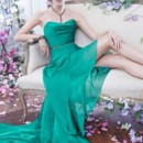 NZ3430  <br /> Emerald luminescent chiffon gown, draped cowl neckline, charcoal jeweled band at natural waist, sheer high-low skirt