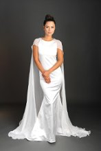 Style: Colette Ivory Stretch silk satin sheath gown with detachable silk crinkle chiffon cape