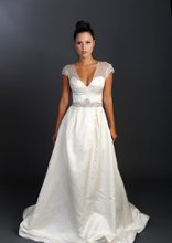 Style: Dunrobin Silk duchess stain sweetheart neckline with organza ball gown, embellished shoulder and waist detail