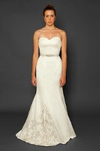 Style: Bastonia Sweetheart silk satin mermaid gown with Asymmetrical tulle overlay, embellished hem