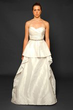 Style: Blair Silk taffeta draped sweetheart A-line gown with circle skirt and embellished belt