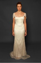 Style: Boldt Swarovski crystal and sequin beaded sheath gown with chiffon train