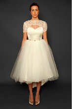 Style: Promenade French Guipure lace cap sleeve sweetheart tea length dress with tulle skirt