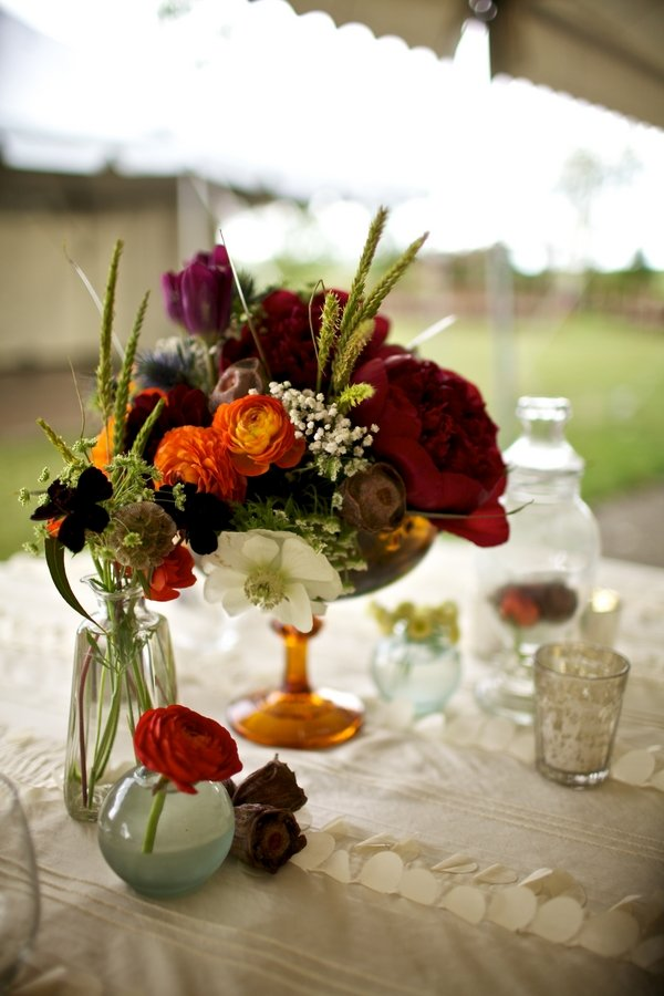 Rustic vintage orange red centerpiece centerpieces fall