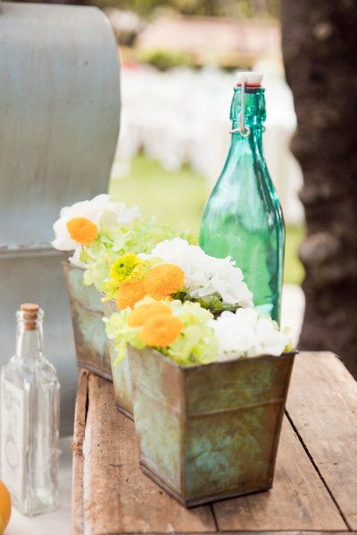 Rustic vintage orange yellow centerpiece centerpieces