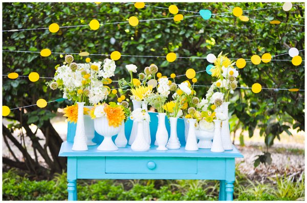 Rustic Shabby Chic Vintage Black White Yellow Centerpiece Centerpieces Spring Summer Wedding Reception Photos Pictures